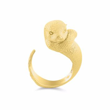 Precious Clam Sea Otter Diamond Gold Ring