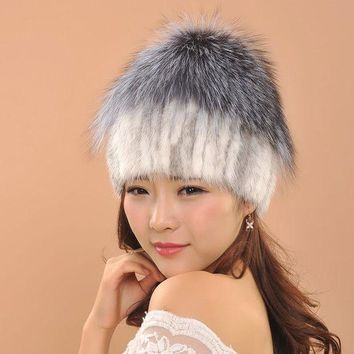 CREYCI7 Hat Quality Mink Fur Hats Women Winter Gorros Knitted Mink Cap Hat With Fur Ball Decoration Skullies Beanies Gorros Caps