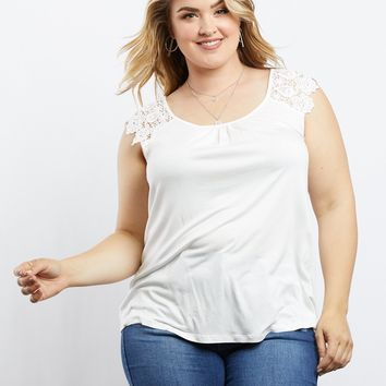 Plus Size Gillian Lace Sleeve Tee