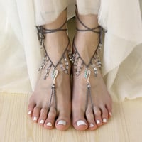 Boho barefoot sandals Beach wedding anklets
