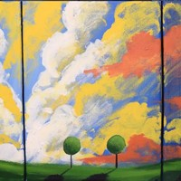 """ARTFINDER: triptych 3 panel wall art colorful images """"clouds of colour"""" 3 panel canvas wall abstract canvas pop abstraction 27 x 12"""" by Stuart Wright - The original paintings for sale """"Clouds of Colo..."""
