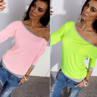 Off-shoulder 7/10 Sleeves Patchwork Slim T-shirt