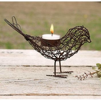 Set of 4 Wire Bird Tea Light Holders