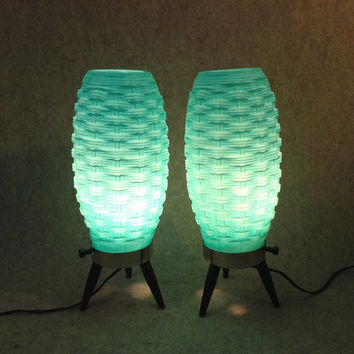 A Pair of Matching Atomic Age - Mid Century Modern Aqua or Turquoise Table Lamps,  with Basket Weave Plastic Shade, 3-Legged Base - Electric