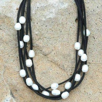 Layered Leather & Pearl Choker Necklace