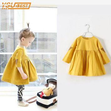 Baby Girls Dresses New 2017 Summer Fashion Girls Clothes Yellow Brand Princess Dress Children Summer Clothes Baby Girls Dress