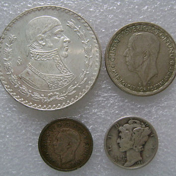 Mini Silver Coin Collection Mercury Dime Mexican Peso Canadian Dime and Swedish Krona