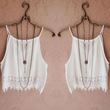 Summer Lace Patchwork Tank Top +Necklace