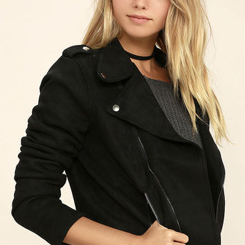 Kiss Goodbye Black Suede Moto Jacket