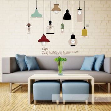 Shine Light Bulb Wall Sticker Living Room Bedroom Decor Mural Art Vinyl Wallpaper Tableware Wall decal Stickers for Kitchen