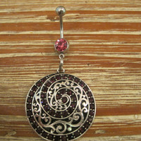 Belly Button Ring - Body Jewelry -Spiral Embossed Charm With Pink Gem Stone Belly Button Ring