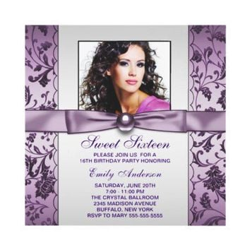 Purple Damask Photo Sweet Sixteen Birthday Party Announcement from Zazzle.com