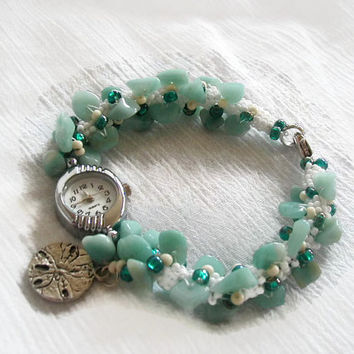 Amazonite Sand Dollar Charm Beadwoven Bracelet Watch~Bracelet Watch~Summer Watch~Beach Watch~Boho Watch~Spiral Rope Watch~Beadwoven Watch