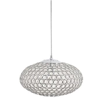 13.78-in W Chrome Crystal Pendant Light with Crystal Shade Globe
