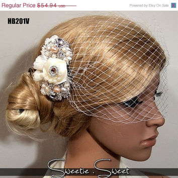 SALE 40% OFF Vintage Wedding bridal hair comb with handmade flowers lace crystals and pearl HB201