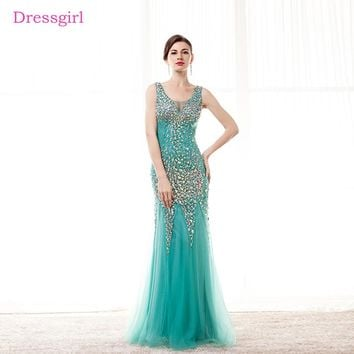 Green 2018 Prom Dresses Mermaid V-neck Tulle Beaded Crystals See Through Elegant Long Prom Gown Evening Dresses Robe De Soiree