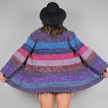 STRIPED vtg 70's space dyed CARDIGAN Sweater rainbow bell sleeve Bohemian hippie jumper