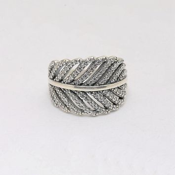 Rings Compatible with  Jewelry European 925 sterling silver feather shape micro pave cz ring