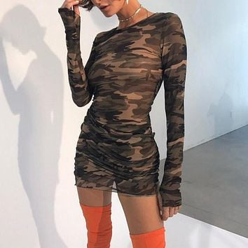 Women Fashion Camouflage Print Gauze Perspective Long Sleeve Mini Dress