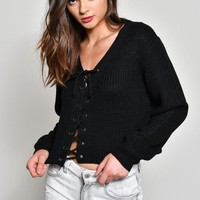Laced Front Sweater
