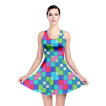 Retro Squares Reversible Skater Dress