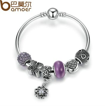 Silver Color Strand Bangle with Butterfly,Heart,Flower Charms Bracelets With Purple Glass Beads Jewelry PA3077
