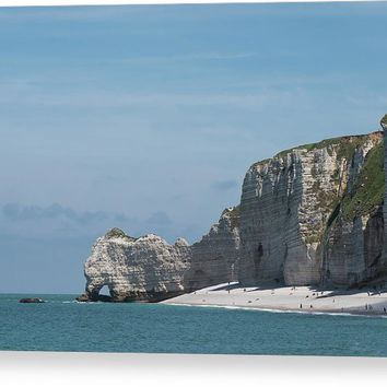 Falaise D'amont Cliff Of Etretat, Normandy, France Canvas Print