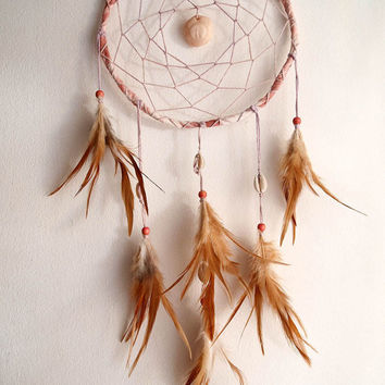 Dream Catcher - Ocean Love - With Unique Sun Amulet, Shelles and Natural Brown Feathers - Boho Home Decor, Nursery Mobile