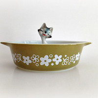 Vintage Pyrex Spring Blossom Green Casserole Dish Crazy Daisy
