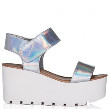 SUN Wedge Heel Platform Flatform Sandal Shoes - Silver Hologram