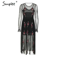 Simplee Embroidery mesh long summer dress women Sexy transparent elastic maxi dress 2018 Streetwear strap black dress female
