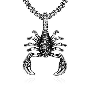 Stainless Steel Scorpion Emblem Necklace