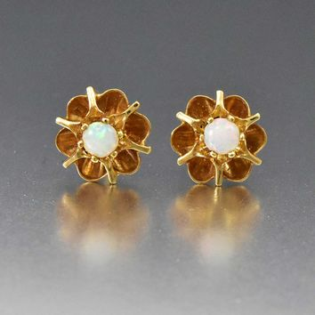 Art Deco 14K Opal Stud Flower Buttercup Earrings 1930s b6e3677071