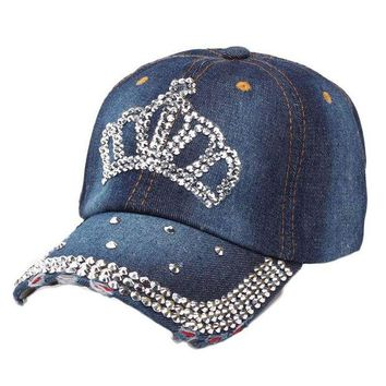 DCCKWJ7 High Quality  Denim Hip-Hop Baseball Cap Women Ladies Rhinestone Crown Flat Snapback Hat Adjustable Casual Caps