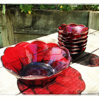 Royal Ruby Berry Set, Large Bowl with 6 Small Berry Bowls, 1940's Anchor Hocking