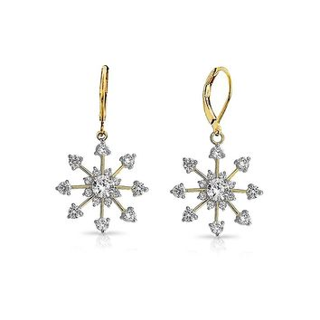 Christmas Leverback Winter CZ Snowflake Dangle Earrings 14K Gold Plate