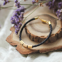 Black Braided Leather Cord Bracelet, Minimal Leather Bracelet With Gold Plated Beads, Everyday Bracelet, Simple Jewelry, Gift For Her