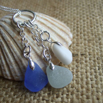 Scottish triple sea glass pendant, blue sea foam and white milk sea glass pendant, sterling silver chain, circle charm holder sea glass gift