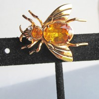 Signed Early CORO Pegasus Vintage Adolph Katz Golden Topaz FLY Pin, Ca 1951 BOOK Piece!