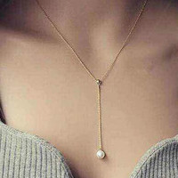 Gold Faux Pearl Y Necklace