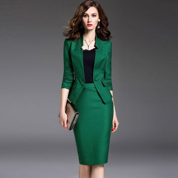 Autumn Women's Sets Black/Green Long Sleeve Single Button Business Suit Blazer+Plaid Knee-Length Pencil Skirt Two Piece Sets