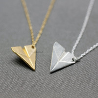 Paper Airplane pendant Necklace / Airplane charm Necklace - Available color as listed (Gold, Silver)