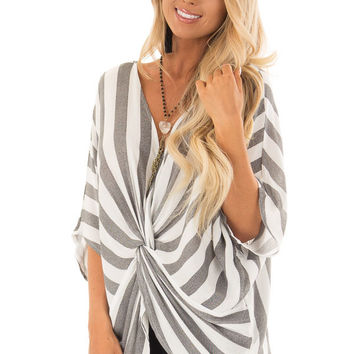 Charcoal and White Striped Top with Front Twist