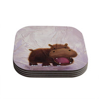 "Rachel Kokko ""The Happy Hippo"" Coasters (Set of 4)"