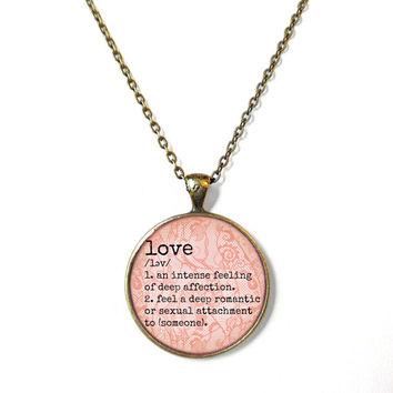 Pink Lacey Pendant with the Definition of LOVE Necklace - Valentine's Day Motivational and inspirational Pendant with Small Arrow