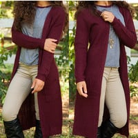 Ruth Cardigan - Burgundy