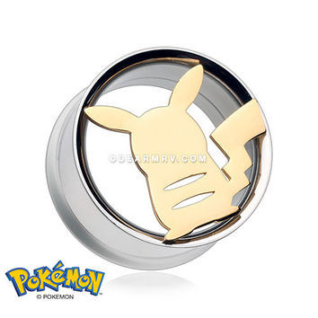 A Pair of Golden Pikachu Pokemon Double Flared Screw-Fit Plug