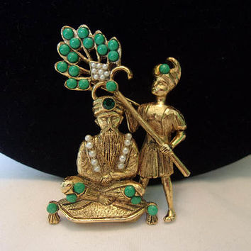 HATTIE CARNEGIE Vintage Royal Maharajah King with Servant Man Brooch Rhinestone Jade Glass Book Piece Rare Figural Pin