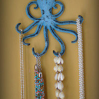 Cast Iron Octopus Hook - Jewelry Holder - Key Holder - Ocean Blue or Custom Color