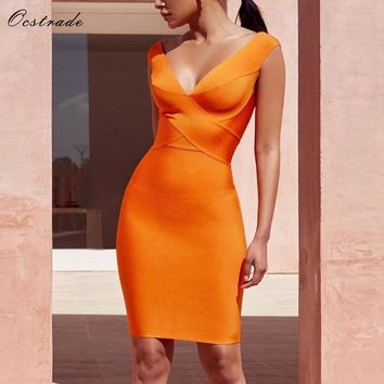 Ocstrade Sexy Dress Club Wear Summer Party Dress 2018 New Arrival Orange Cross Front  Women Bandage Dress Bodycon Sleeveless XL